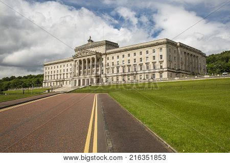 Stormont Belfast Northern Ireland - June 13 2017: Stormont Estate Seat of Government (Assembly) in Northern Ireland.