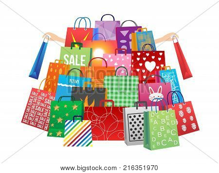 shopping man and women with a lot of bags , shopping bag version 2