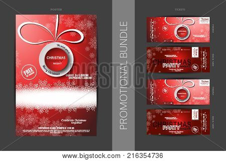 Vector promotional bundle of Christmas party night poster with round lable glow in the center snowfall and tickets with shadow.