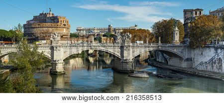 Rome Italy Europe view of a bridge over Tiber river and of the Mausoleum of Hadrian usually known as Castel Sant Angelo