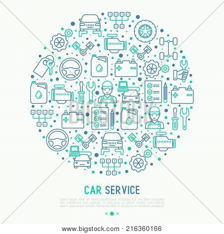Car service concept in circle with thin line icons of mechanic, computer diagnostics, tools, wheel, battery, transmission, jack. Modern vector illustration for banner, web page, print media.