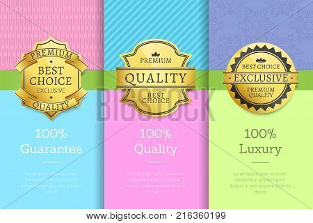 100 guarantee quality luxury exclusive best premium choice golden labels set of logos design on posters with text vector illustrations collection