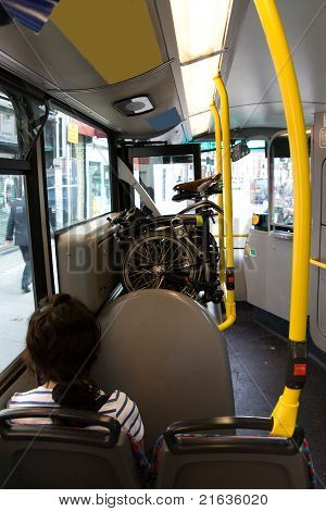 Folding Bicycle On A Public Bus