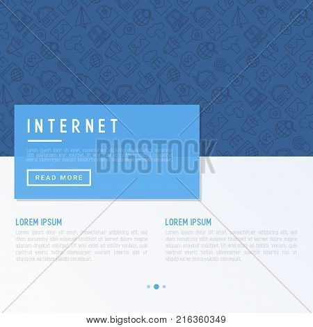 Internet concept with thin line icons: e-mail, chatm laptop, share, cloud computing, seo, download, upload, stream, global connection. Modern vector illustration for web page.