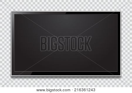 Realistic TV screen. Modern stylish lcd panel led type. Large computer monitor display mockup. Blank television template.