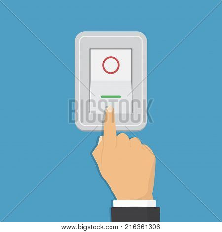 Toggle switch. Electric control concept. Vector graphic design. Isometric icon. Hand turning on the light.