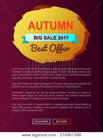 Autumn best choice 2017 premium offer round promo label on vector illustration web banner with place for text on violet background, fall season concept