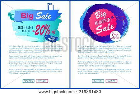 Big winter sale discount 20 offer best choice hanging label on thread isolated on blue brush strokes vector posters design with web online buttons