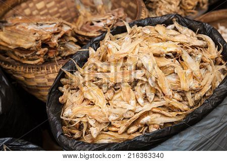 Some bags of dried fish on a market on the Inle Lake of Myanmar Southeast Asia