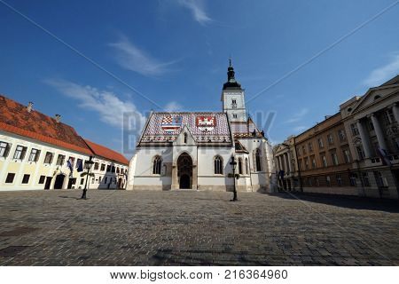 ZAGREB, CROATIA - AUGUST 19: The Church of St. Mark dates back to the 13th century in Zagreb, Croatia on August 19, 2017.