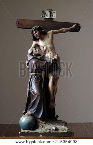 STITAR, CROATIA - NOVEMBER 11: St. Francis removes Jesus from the cross, church of Saint Matthew in Stitar, Croatia on November 11, 2016.