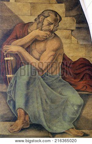ZAGREB, CROATIA - AUGUST 19: Prophet Jeremiah, fresco in the church of St. Mark in Zagreb, Croatia on August 19, 2017.