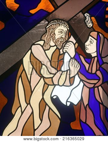 RIJEKA, CROATIA - JUNE 11: 6th Stations of the Cross, Veronica wipes the face of Jesus, stained-glass window in the church of St. John the Baptist in Rijeka, Croatia, on June 11, 2011