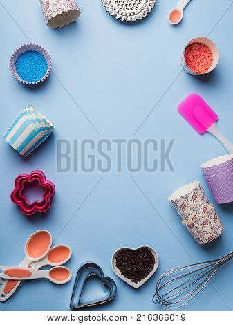 Sweet baking concept. Girlish style. Mother valentine day sweet gift preparation. Birthday party