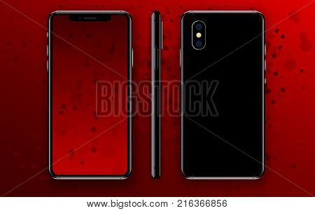 New phone X front and black and side drawing EPS format isolated on red background.