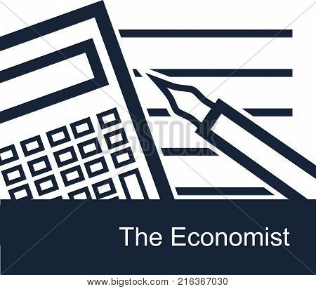 The economist on white background - simple vector monotone square backdrop or icon for web. Contour calculator notepad and feather pen - working tools of economist