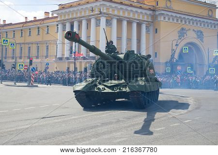 SAINT-PETERSBURG, RUSSIA - MAY 09, 2017: Heavy self-propelled artillery mount