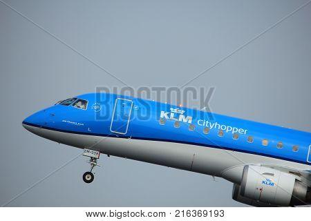 Amsterdam the Netherlands - June 2nd 2017: PH-EZM KLM Cityhopper Embraer ERJ-190STD taking off from Polderbaan Runway Amsterdam Airport Schiphol