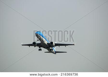 Amsterdam the Netherlands - June 2nd 2017: PH-EZA KLM Cityhopper Embraer ERJ-190STD taking off from Polderbaan Runway Amsterdam Airport Schiphol