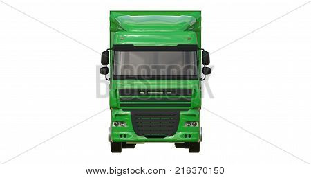 Large green truck with a semitrailer. Template for placing graphics. 3d rendering