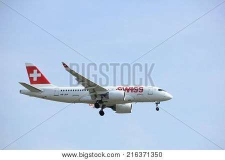 Amsterdam the Netherlands - March 31st 2017: HB-JBA Swiss Bombardier CSeries CS100 approaching Polderbaan runway at Schiphol Amsterdam Airport the Netherlands