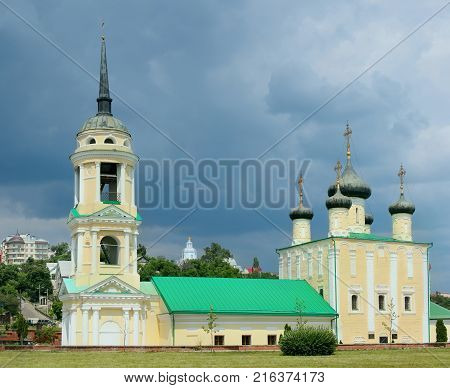 Uspenskiy Cathedral on the Admiralty Square in the city landscape of Voronezh.