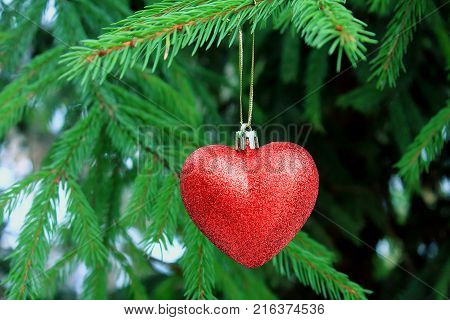 The decoration on the Christmas tree. Red heart hanging on a Christmas tree. Christmas tree. The spirit of Christmas. Christmas traditions. Winter mood and love. Heart on the snow
