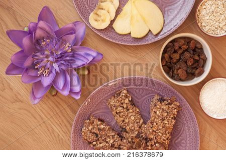 It is image of delicious andy healthy sticks with oats,raisins,coconut and other decoration