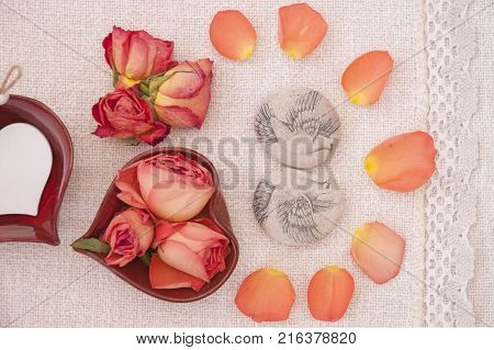 It is image of decorations and symbols of love and romantic