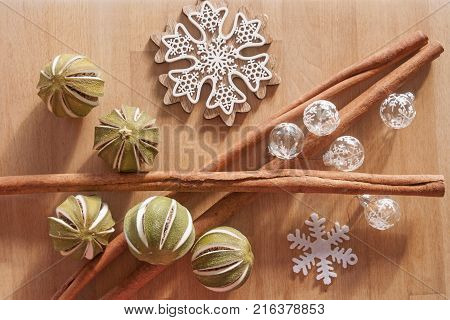 It is image of Christmas decoration with spices