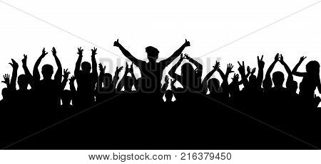 Applause crowd  on white background isolated , silhouette