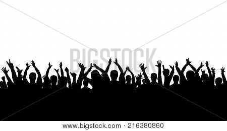 Сrowd of people applauding silhouette on white background