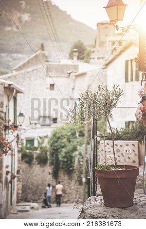 quaint historic village in the Tramuntana Mountains of Majorca Spain