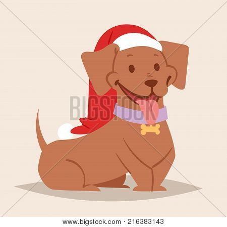 Christmas dog vector cute cartoon puppy characters illustration couple pets doggy different Xmas celebrate poses in Santa Red Hats