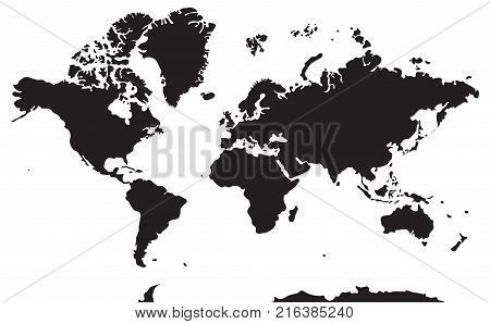 Black and white geographical map. Vector. All continents: Asia Europe North and South America Africa Australia Antarctica.