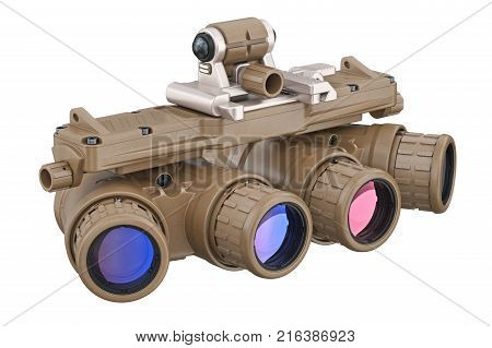 Night military goggles optical devise. 3D rendering
