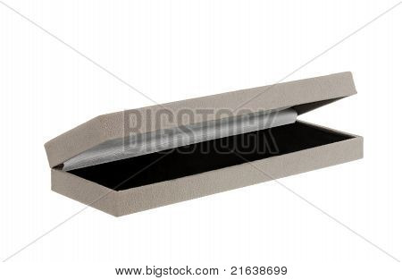 Opened Grey Velvet Gift Box