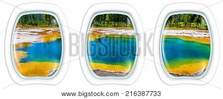 Three porthole frame windows on colorful Abyss Pool in the West Thumb Geyser Basin of Yellowstone National Park, Wyoming, United States. American Summer Holidays in National Parks.