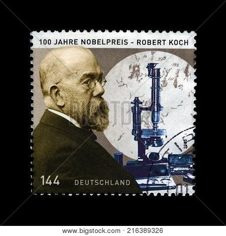 GERMANY - CIRCA 2005: stamp printed in Germany shows Robert Koch (1843-1910), discoverer prevent of tubercle bacillus, Nobel Medicine Prize, circa 2005.