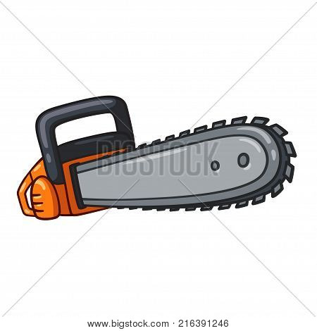 Cartoon chainsaw illustration, comic style vector drawing isolated on whte background.