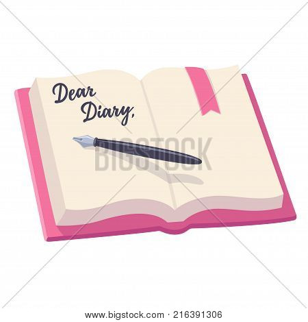 Open notebook with pen and written words Dear Diary. Journal entry vector illustration.