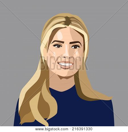 Dec 2017: Vector portrait of Ivanka Trump - American television personality, fashion designer, author and businesswoman who is an advisor to the President of the United States, Donald Trump