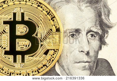 Cryptocurrency of the Bitcoin with portet of President Andrew Jackson close up. Business concept of virtual money