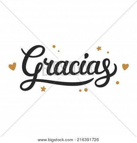Gracias lettering, Thank you in Spanish. Cursive handwritten word with hand drawn doodle elements, thank you note vector illustration.
