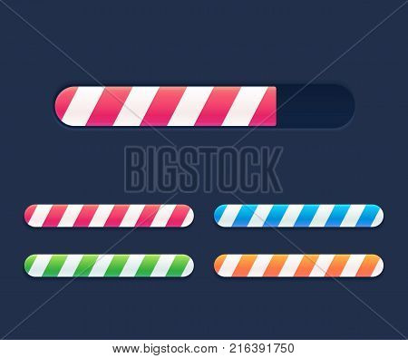 Progress loading bars set, striped interface elements. Bright vector preloaders.