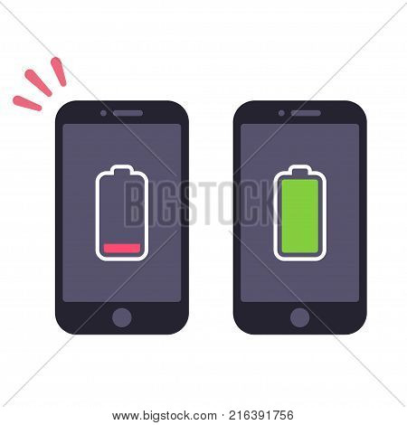 Two smartphones with energy level icons, low battery and charged full. Vector illustration.