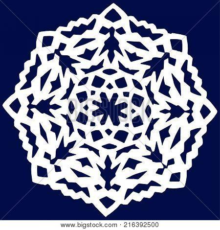 Snowflake Icon. Snowflake vector. Snowflake isolated on blue background. Winter snowflake. blue on white