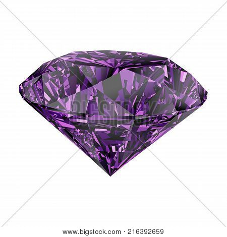 Realistic shining purple amethyst jewel isolated on white background. Colorful gemstone that can be used as part of logo, icon, web decor or other design.
