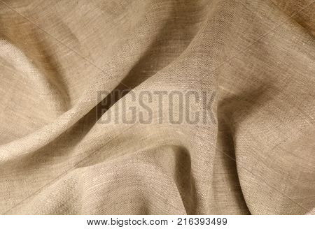 Linen unpainted fabric with a smooth surface and matte shine