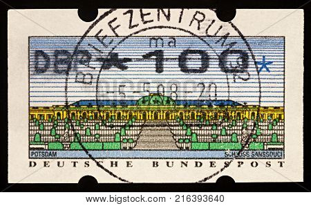 Moscow Russia - December 01 2017: A stamp printed in Germany shows Sanssouci - the summer palace of Frederick the Great King of Prussia built in 1747 circa 1993